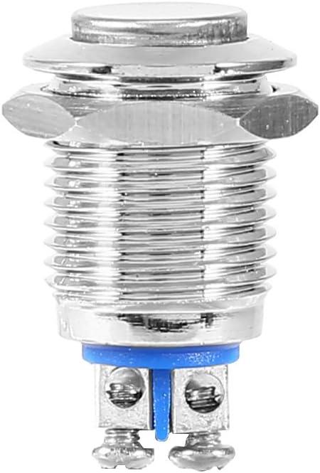 12 mm Interruptor el/éctrico del bot/ón de arranque de metal a prueba de agua moment/áneo de 2 piezas
