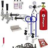 Kegco BF UCK2-BLCP-5T Ultimate Door Mount 2 Keg Tap Kegerator Conversion Kit Ball Lock with 5 lb Tank, Stainless Steel