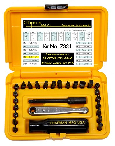 Chapman MFG 7331 Standard and Metric 24 Bit Allen Hex Screwdriver Set - Includes Midget Ratchet, Screwdriver Handle, Phillips, Metric, Slotted and Standard Hex Bits Plus a 3 ⅝