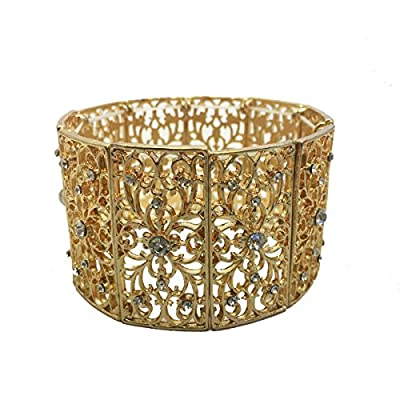 Fitbit Bracelet for FitBit Flex Trackers - The FLORENCE Gold Filigree and Rhinestone Stretch Fitbit Bracelet