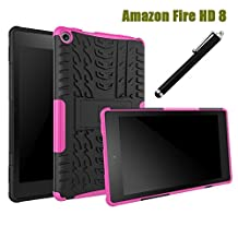 All-New Fire HD 8 2016 Case 6th Generation, NOKEA Hybrid Heavy Duty Armor Protection Cover [Anti Slip] [Built-In Kickstand] Skin Case For New Fire HD 8 Kids Tablet ( 6th Gen 2016 Release ) (Rose)