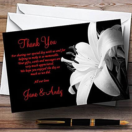Stunning Lily Flower Black White Red Personalized Wedding Thank You Cards