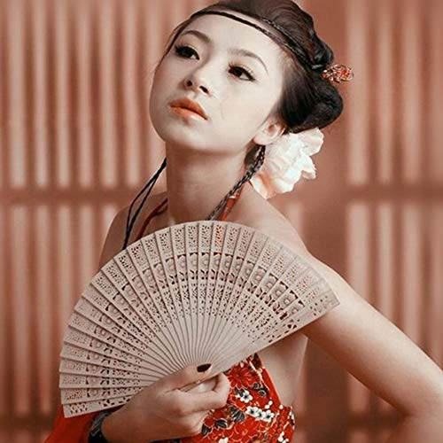 ️ Yu2d ❤️❤️ ️Bamboo Fan Folding Wooden Carved Hand Fans for Outdoor Wedding Party Favor - Out Wallpaper Angels Cut