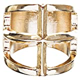 ACCESSORIESFOREVER Trendy Square Shaped Hollow Design Statement Fashion Size 8 Ring R215 Gold