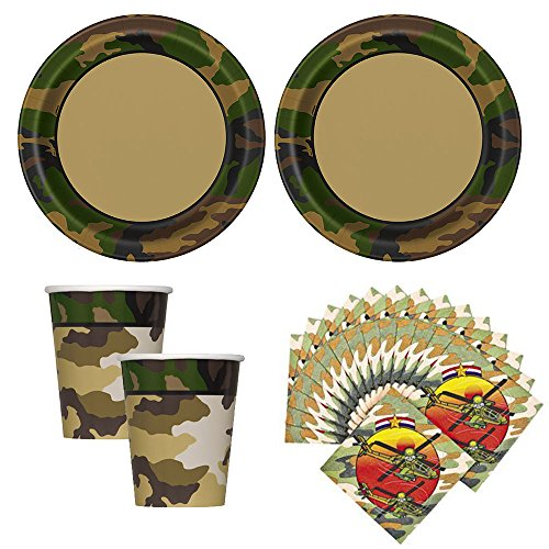 Camouflage Army Party supplies for 16 guests, dinner plates, napkins and cups