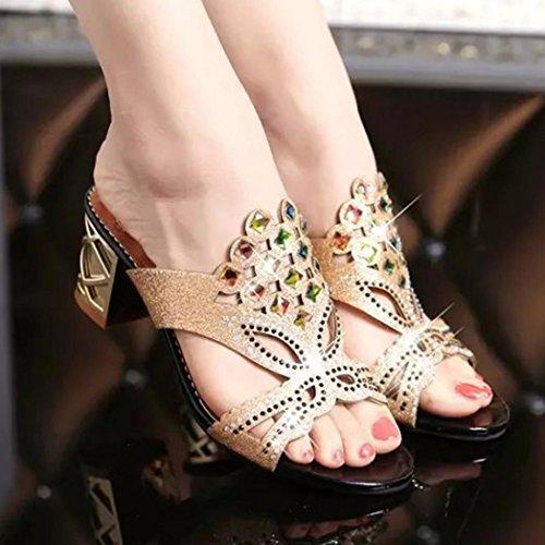 Sandalias del de Alto Sandalias para de de de Manera Tacón Nuevas la Mujeres de Las OHQ Mujeres del Zapatos Grandes Sandalias Imitación Verano Playa Negro Diamante Señoras pvqPw0nx