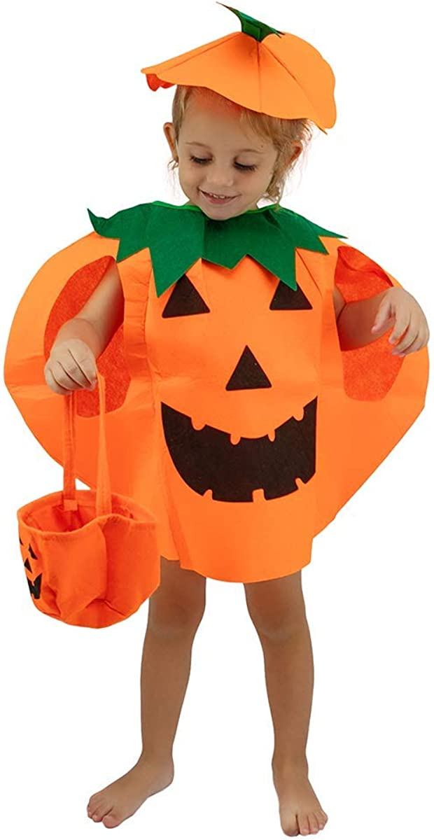 Halloween Pumpkin Costume for Kids 3t 4t 5t 6t 7t Boys Girls Children Cosplay Party Dress Up Cloth (Orange)