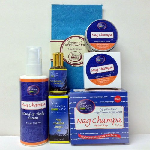 (NAG CHAMPA LOVERS' Spa Gift Set - Lotion, Soap, Oil, Candle &)