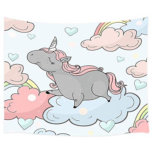 Cartoon Unicorn Tapestry, Unicorn Stand on Rainbow White Clouds Pattern on White Tapestry Wall Hanging, Wall Tapestry for Bedroom Living Room Dorm TV Background, 71X60 in
