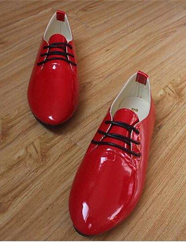 ZQ hug Zapatos de mujer - Tacón Plano - Punta Redonda - Planos - Casual - Semicuero - Negro / Rosa / Morado / Rojo / Blanco / Beige , purple-us9 / eu40 / uk7 / cn41 , purple-us9 / eu40 / uk7 / cn41 red-us9.5-10 / eu41 / uk7.5-8 / cn42