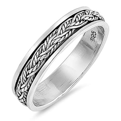 CloseoutWarehouse Sterling Silver Braided Rope Spinner Ring Size 11 by CloseoutWarehouse (Image #2)