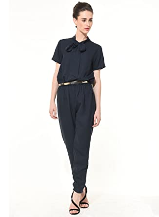 122c5f804f3a BESIVA Women s Navy Blue Polyester Jumpsuit  Amazon.in  Clothing ...