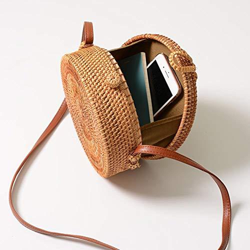 20 bolsa bolsa verano de trenzado tejido 10 hombro mano crossbody bolso compras bolso de para CM retro de paja a solo de tejido de camping retro ir camping playa ratán rn6rwOAqT