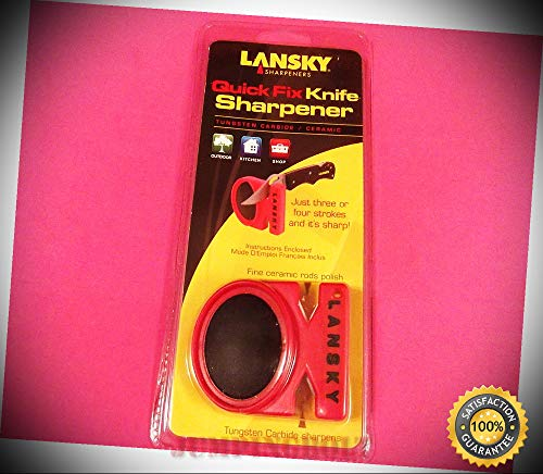 LANSKY LCSTC Quick Fix 2 Stage Carbide & Ceramic Knife Sharpener [LS09880] - Knife for Bushcraft EMT EDC Camping - Quick Fix Lcstc