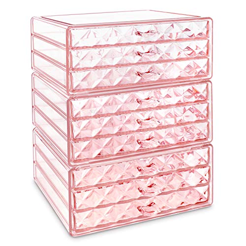 Makeup Cosmetic Organizer Cosmetics Organizers Storage Drawers - 3 Pieces Set, Diamond Pattern, Pink (9 Drawers)