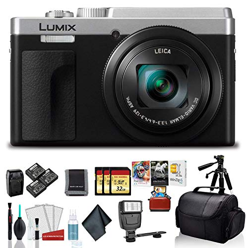 Price comparison product image Panasonic Lumix DCZS80 Digital Camera (Silver) - Bundle with 3X Spare Batteries + Travel Charger + 3X 32 GB Memory Card + External Flash and More