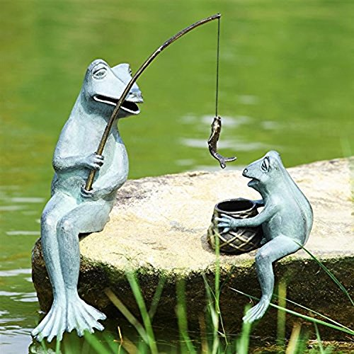 Ebros Large Verdi Green Aluminum Mama Frog and Baby Frog Fishing Garden Statue Bonding Time Whimsical Frog Themed Pond Patio Poolside Decorative Edge Sitter Sculpture Figurine