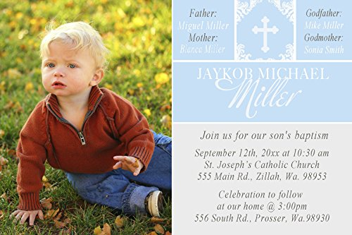 Blue Damask Photo Card - 30 Invitations Blue White Damask Cross Picture Design Baptism Party Personalized Cards + 30 White Envelopes