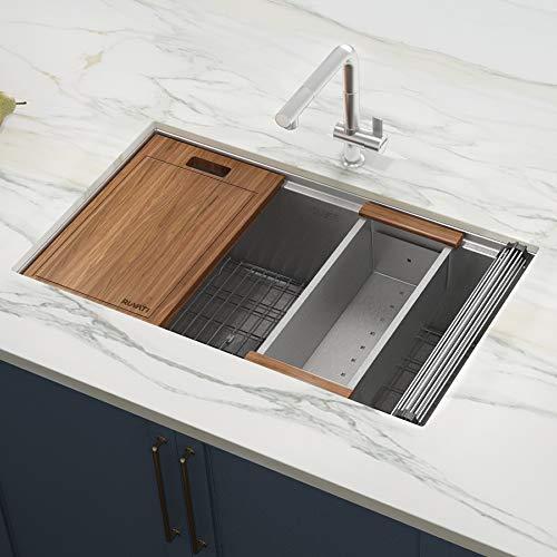 Ruvati 32-inch Workstation Ledge Undermount 16 Gauge Stainless Steel Kitchen