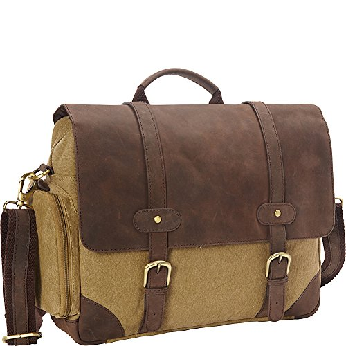 - Bellino Prospector Briefcase, Olive with Brown