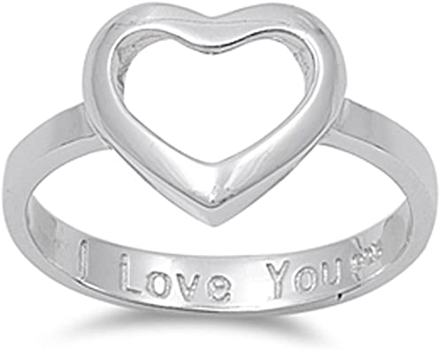Women/'s I Love You Cutout Heart Ring New .925 Sterling Silver Band Sizes 4-10