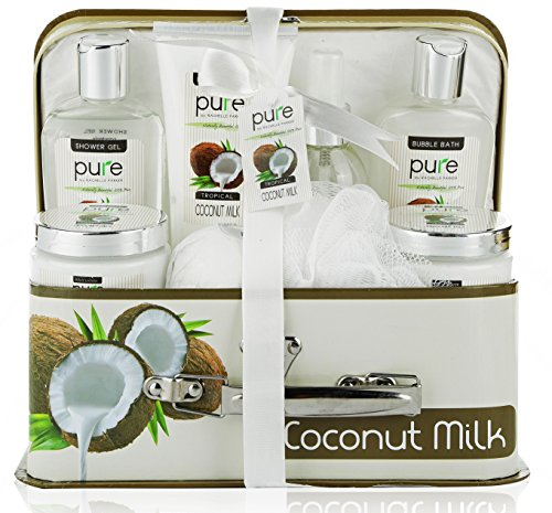 Essence of Luxury Spa Gift Basket Bath Set! PURE Spa Basket Natural Skin Care Gift Set Makes Best Christmas Gift for Women & Holiday Gift Baskets! (Coconut Milk)