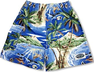 d542539185 Tropical Fish Island Surf Men's Hawaiian Elastic Waist Flap Pocket Cargo  Shorts