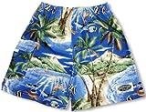Men's Walking Shorts - Tropical Fish Island Surf Elastic Waist Drawstring Cotton Hawaiian Aloha Pocket Shorts in Royal Blue - M offers