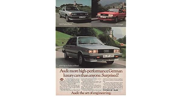 Amazon.com: Magazine Print Ad: 1983 Audi 4000 Sports Sedan, 5000 Turbo Diesel, GT Coupe,