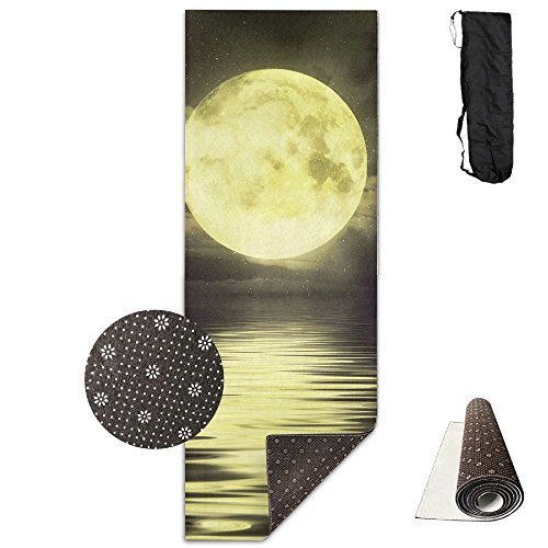 Gorgeously Non Slip Yoga Mat Moon Night Premium Printed 24 X 71 Inches Great For Exercise Pilates Gymnastics Carrying Strap