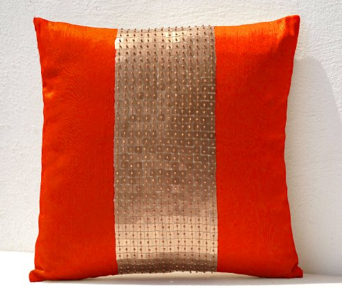 Amore Beaute Handcrafted Throw pillows- Orange gold color block in art silk with sequin bead detail cushion covers- sequin pillow covers- 24 x 24 Orange pillow cover - Gold sequin ()