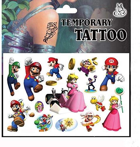 BLOUR 5 Pezzi//Set Cartoon Super Mario Bros Adesivi Tatuaggio temporaneo per Bambini Body Art Falsi Regali istantanei Tatuaggi Giocattoli per Bambini Ragazzo Ragazze