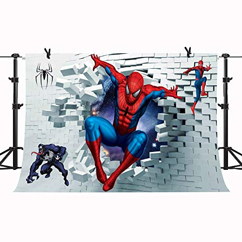 7X5FT Strange Hero Backdrop Cartoon Man Like A Spider White Brick Wall Photography Background Kids Children Boy Room Decoration GYPH036 PHMOJEN -
