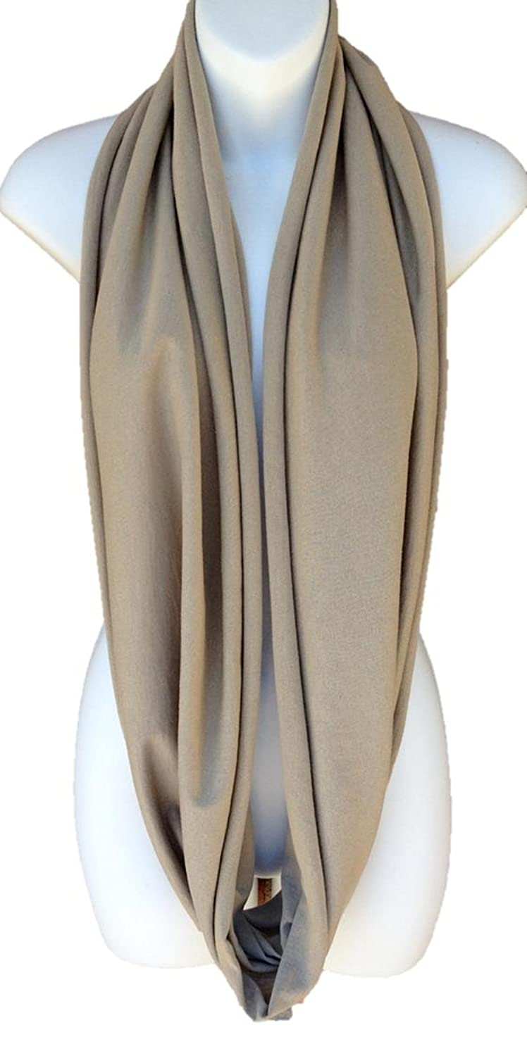 Khaki Tan All In One Jersey Tube Infinity Scarf Circle Vest Shawl Capelet Hood