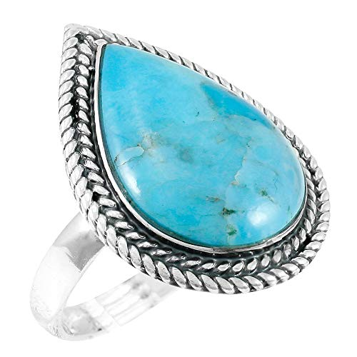 - Turquoise Ring Sterling Silver 925 Genuine Gemstones Size 6 to 11 (Turquoise) (8)
