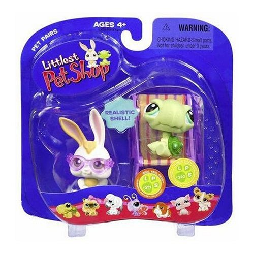 Littlest Pet Shop Pet Pairs Figures Bunny with Sunglasses and Baby Turtle on Beach Chair Hasbro Toys