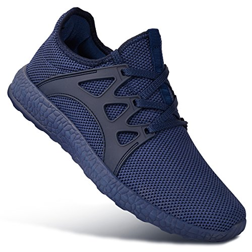 Feetmat Tennis Shoes for Men Non Slip Mesh Running Gym Shoes Lightweight Knitted Walking Athletic Shoes Blue 7
