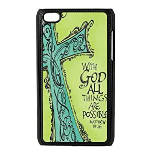Custom Cheap Cell Phone Case for iPod Touch 4 - With God All Things Are Possible Phone Case