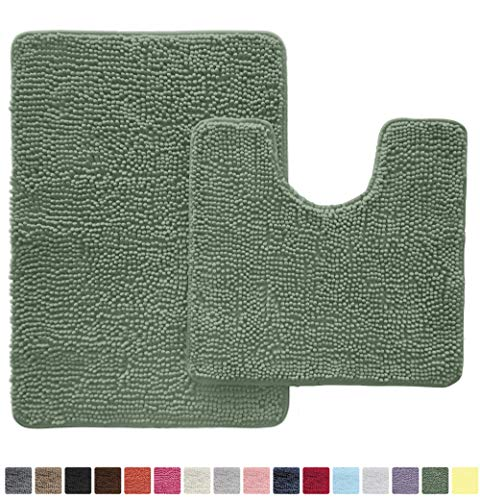 Gorilla Grip Original Shaggy Chenille 2 Piece Area Rug Set Includes Oval U-Shape Contoured Mat for Toilet and 30×20 Carpet Rugs, Machine Wash Dry, Plush Mats for Tub, Shower and Bath Room, Sage Green