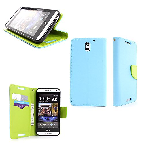 HTC Desire 610 Case, CoverON® Wallet Pouch Flip Phone Cover Case For HTC Desire 610 and Screen Protector - Light Blue + Neon Green