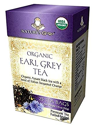 Nature's Guru Organic Whole Leaf Black Tea, Earl Grey, 25 Count Individual  Tea Bags