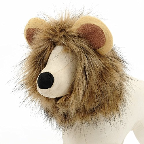 Pet Costume Lion Mane Wig for Dog Cat Dress up with Ears - L (Homemade Reindeer Costume)