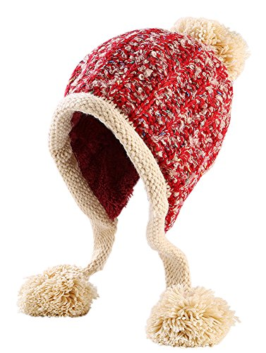 Urban CoCo Women's Winter Cable Knitted Pom Pom Beanie Hat Earflap Caps (#2 (Cold Weather Ball Cap)