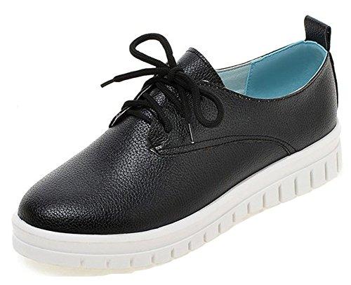 Aisun Women's Comfy Lace Up Platform Sneakers Black