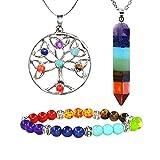MIKINI Unisex Jewelry Set - 7 Chakra Stone Bracelet & Rainbow Dowsing Divination Pendulum Pendant & Tree of Life Pendant Necklace (Pack of 3)