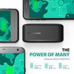 RAVPower 6700mAh Power Bank 19 2X Faster Charger: 2A input can save half of the time to fully charge the 6700mAh portable charger (please use a 2A or higher output charger); 2.4A output makes it charge other devices 2X faster than other chargers. The maximum input and output for the fastest and strongest charging experience. Exclusive iSmart Technology: This battery backup charge faster and smarter than others, automatically detects and delivers the optimal charging current for any connected device- ensuring the fastest and most efficient charge. Compact Body, Amazing Capacity: Fitting in the palm of your hand, up to two charges for iPhone 6, or more than one charge for large phones like 6 Plus, Note 4, etc.
