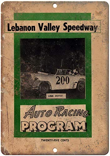 Anbiz 8X12 Inch Sign Lebanon Valley Speedway Auto Racing Program Black White Color Vintage Look Reproduction Funny Wall Decor Wall Sign