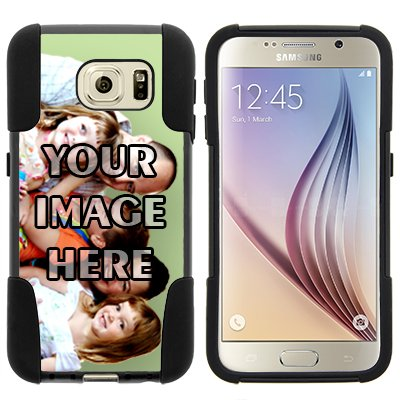 Galaxy S6 Case,NEW [Customizable by Buyers] [DIY Create Your Own Phone Case] [User Uploadable] Dual Layer Shell STRIKE Impact Kickstand Case for Samsung Galaxy S6 VI SM-G920, Black