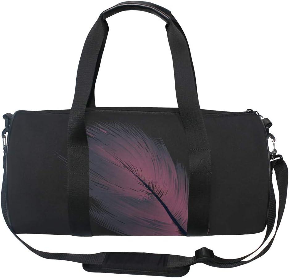 MALPLENA Purple Feather Drum gym duffel bag women Travel Bag