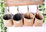 FANTASIEN 4 Pack linen Wall Door Hanging Storage Bag Case Basket Home Organizer Bin Decor,Toy Storage Cage,Office Desk Supplies Organizer Box ,hanging Flowerpot Holder-12X10cm